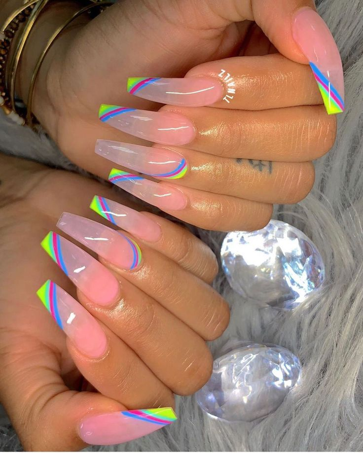 Photo of trends 2019 Inspiration Clear Pink with bright accents nails. Decent but still s…