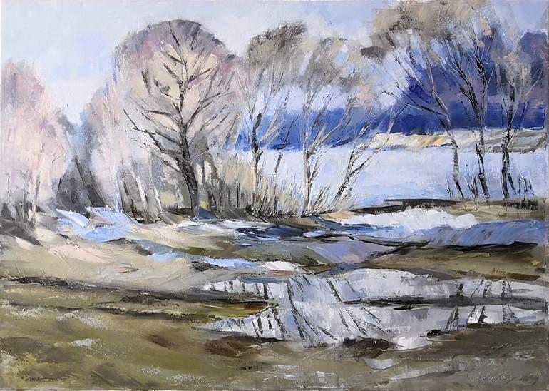 European Landscape Painting Original Lake Artwork Tree Wall Art For Living Room by Sviatlana Shatskaya