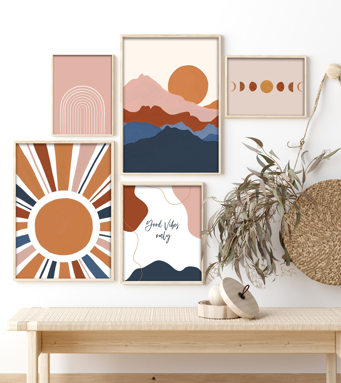 Photo of Modern Gallery Wall Set Of 5 Art Prints,Boho Home Decor,Landscape Sun Print,Abstract Art,Digital Download