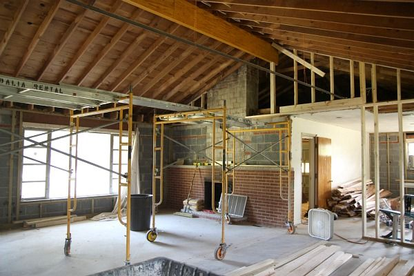 Vaulting the ceiling in a rancher and opening the floor for Raising roof on ranch house