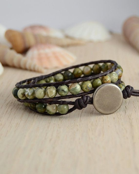 Double wrap natural stone bracelet by SinonaDesign on Etsy, €31.00
