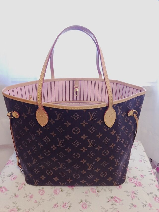 Louis Vuitton Neverfull MM Rose Ballerine   eBay   Louis Vuitton ... 6825d44dd3e