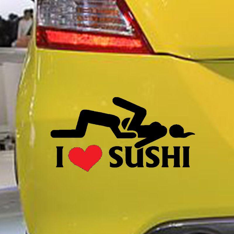 126cm car styling i love sushi car stickers window rear windshield motorcycle vinyl decal car body funny sticker black sliver