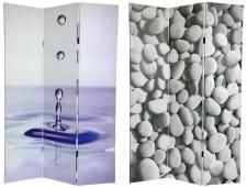 Asian and Zen Theme Decor, precious stones, water drops on a photo printed room divider screen in 3 panels