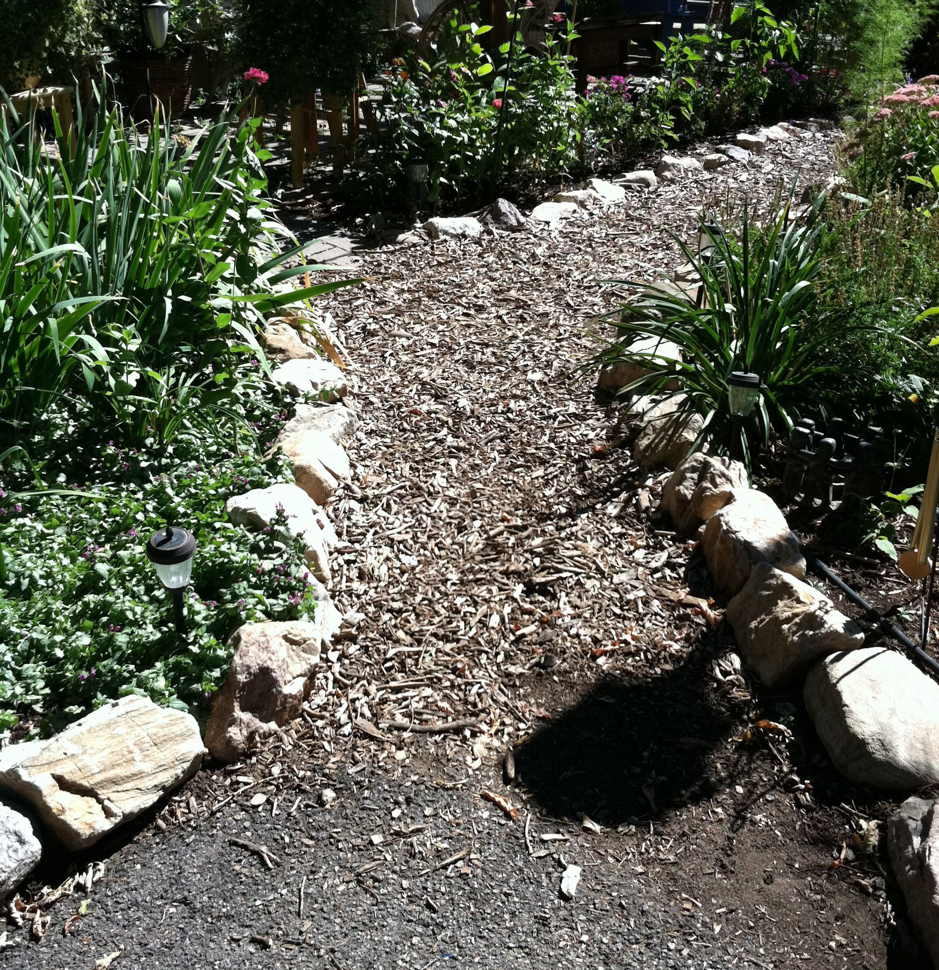 How to make a garden path with gravel - How To Make A Hillside Garden Path Wood Chips For Garden Path Our Garden