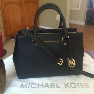 I just discovered this while shopping on Poshmark  Michael Kors Black  Saffiano Sutton Satchel Bag. Check it out! Price   200 Size  Small 481c2cac87