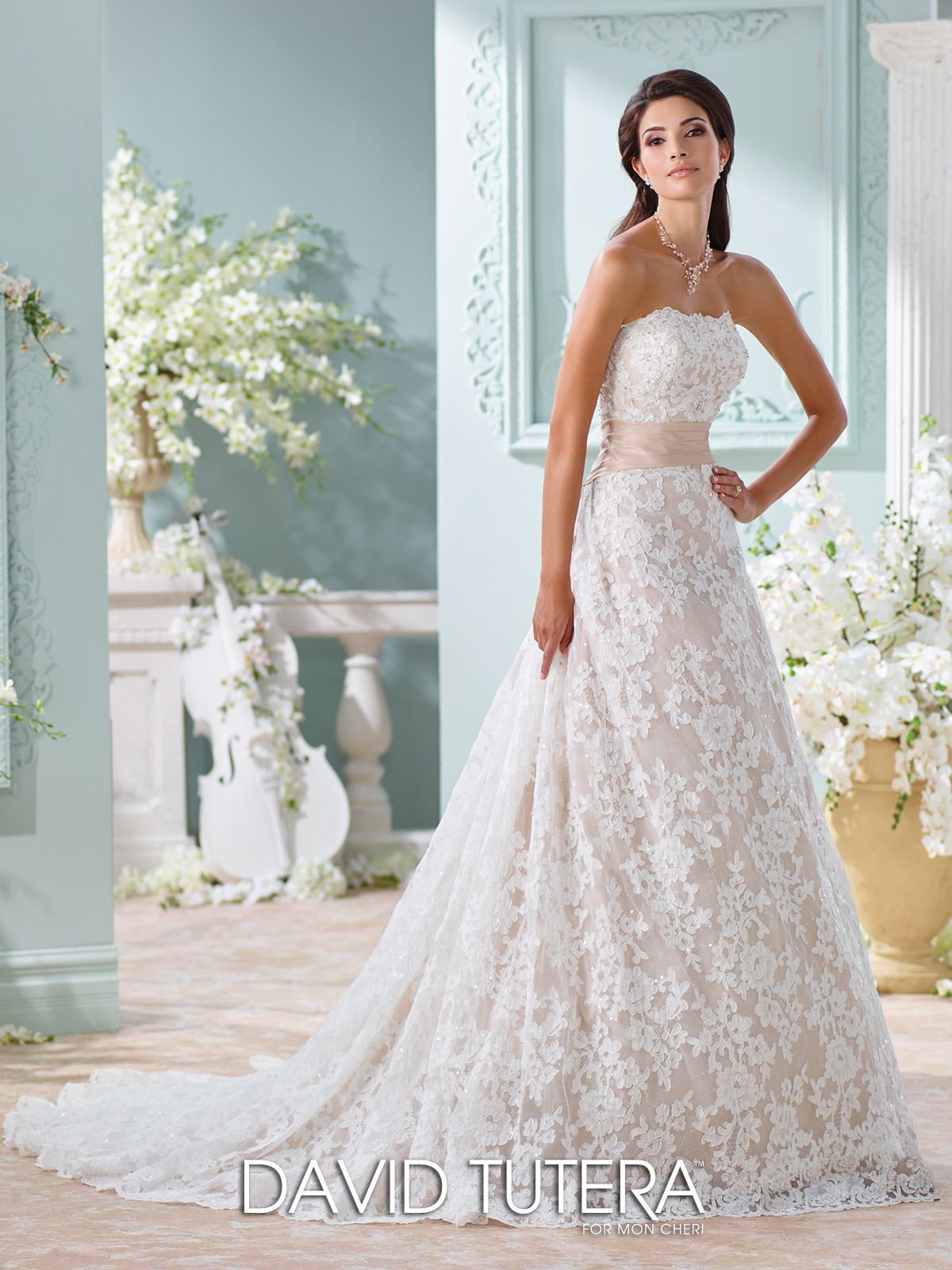 Unique wedding dresses fall 2018 martin thornburg aline wedding strapless allover lightly hand beaded alencon lace tulle and memory taffeta a line gown with scalloped lace neckline pleated taffeta natural waistband junglespirit Choice Image