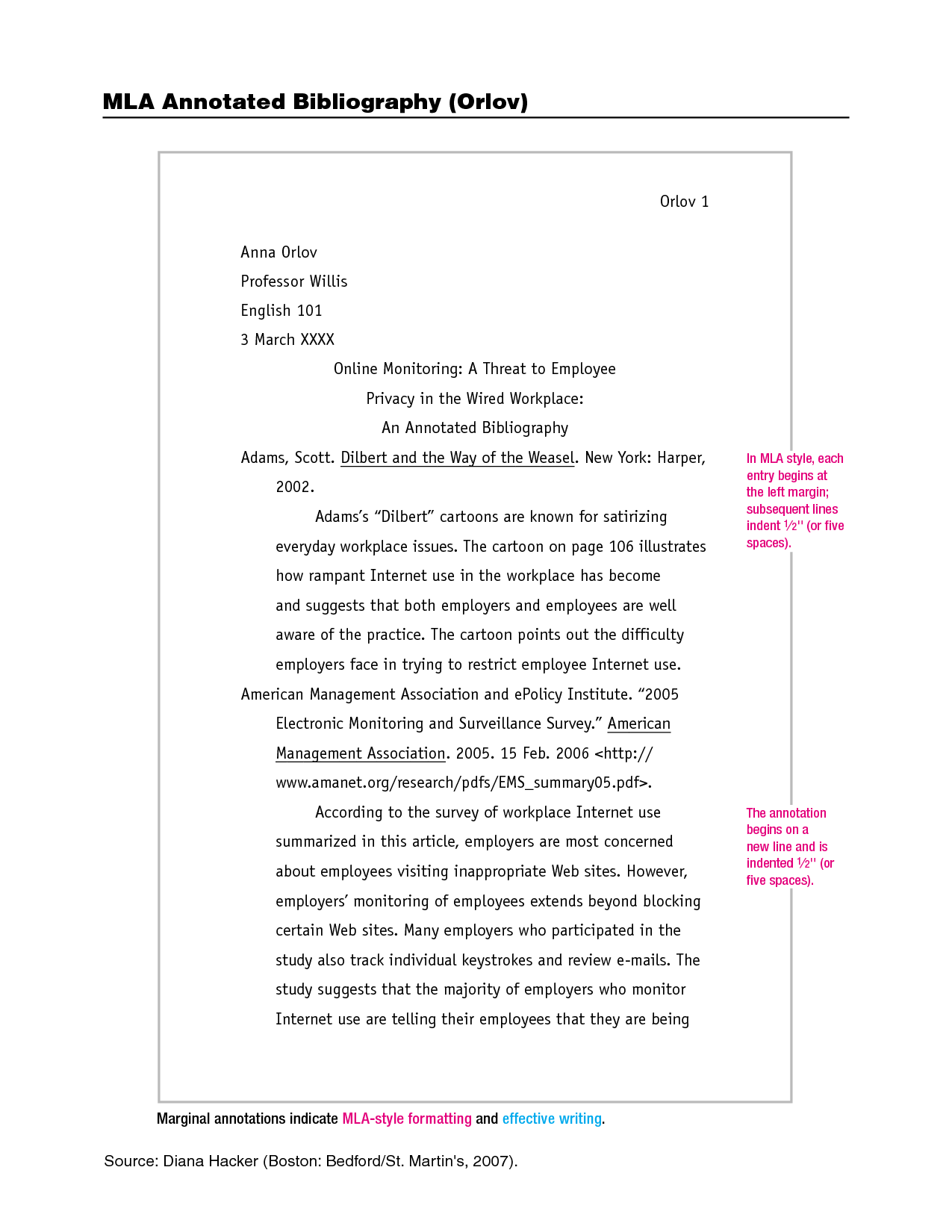 Mla Format Annotated Bibliography