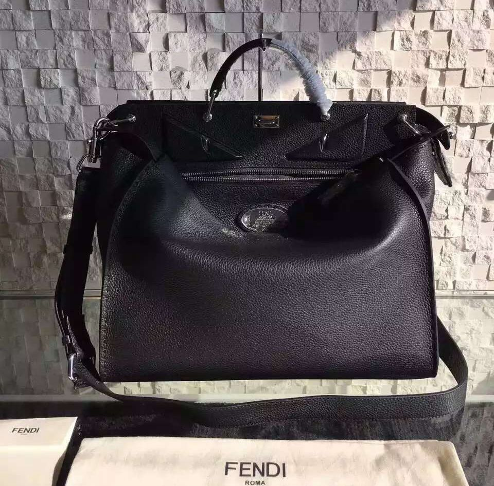 20a4502f68be Fendi Roman Leather Small Peekaboo Handbag For Men with Raw Edging and Bag  Bugs Eyes Black 2016