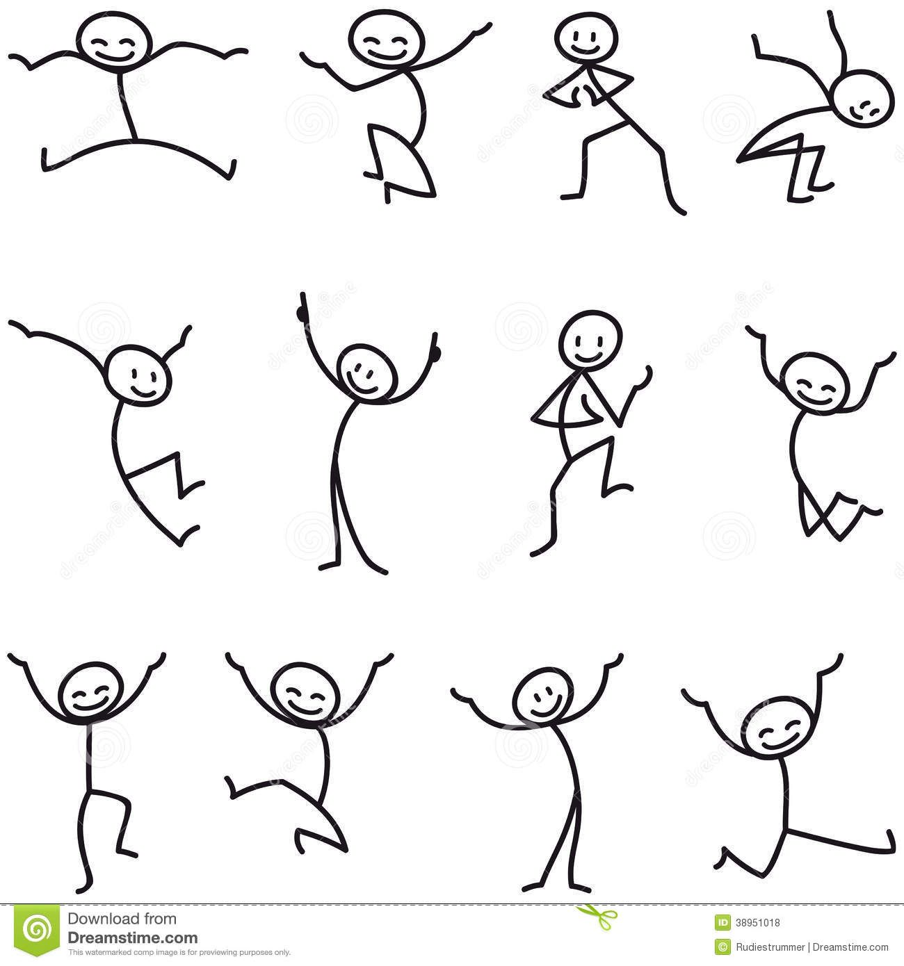 Stick man stick figure happy jumping celebrating download from