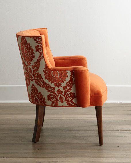 Best Haute House Bright Tiffany Damask Chair Blue Velvet 400 x 300