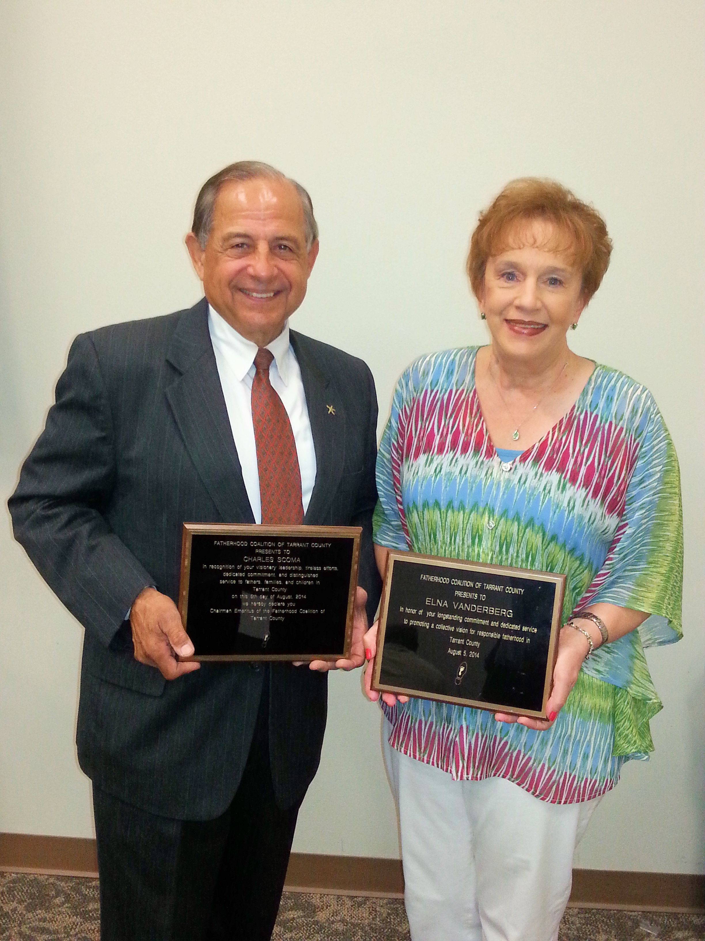 Elna was honored by tarrant county fatherhood coalition