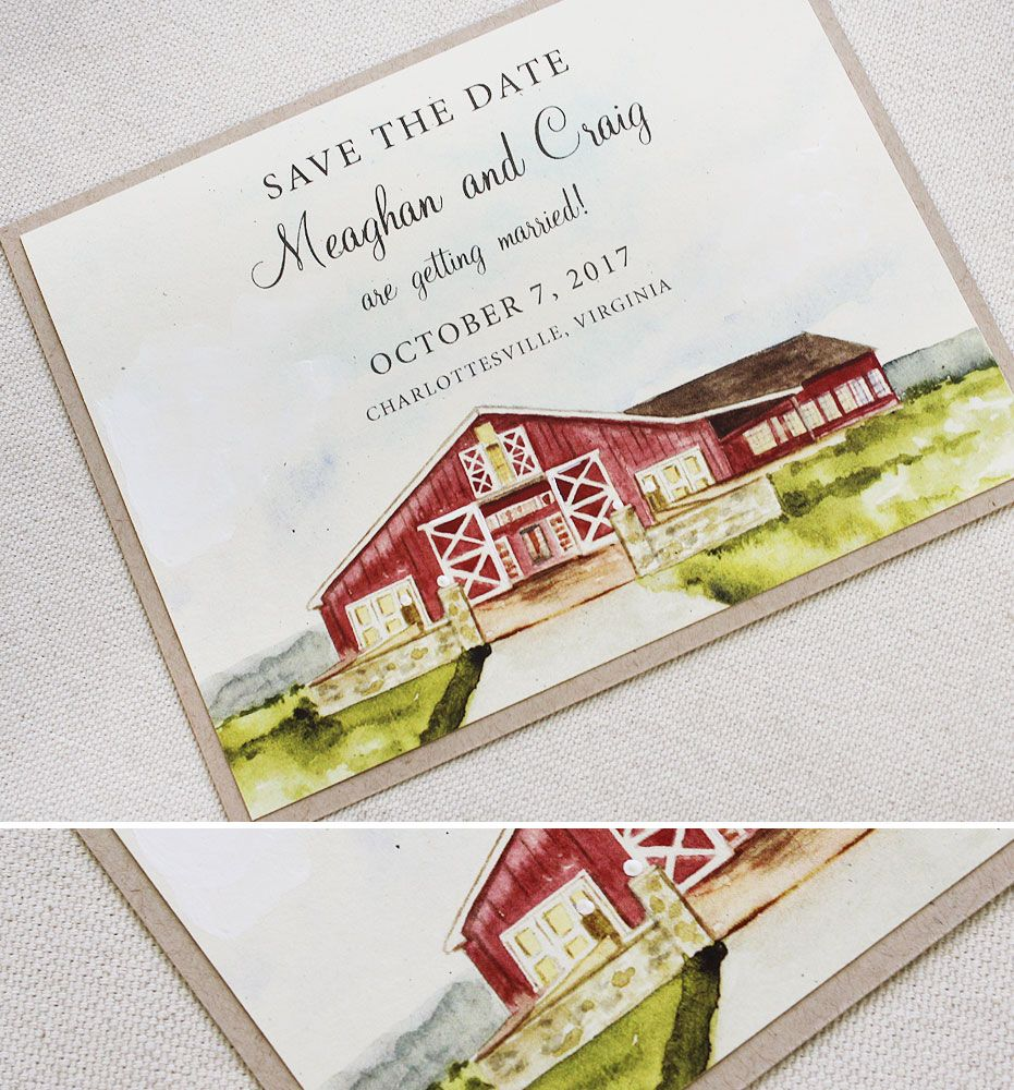 Meaghan M Rustic Floral Wedding Invitations Barn Wedding Invitations Painted Wedding Invitation Watercolour Wedding Stationery