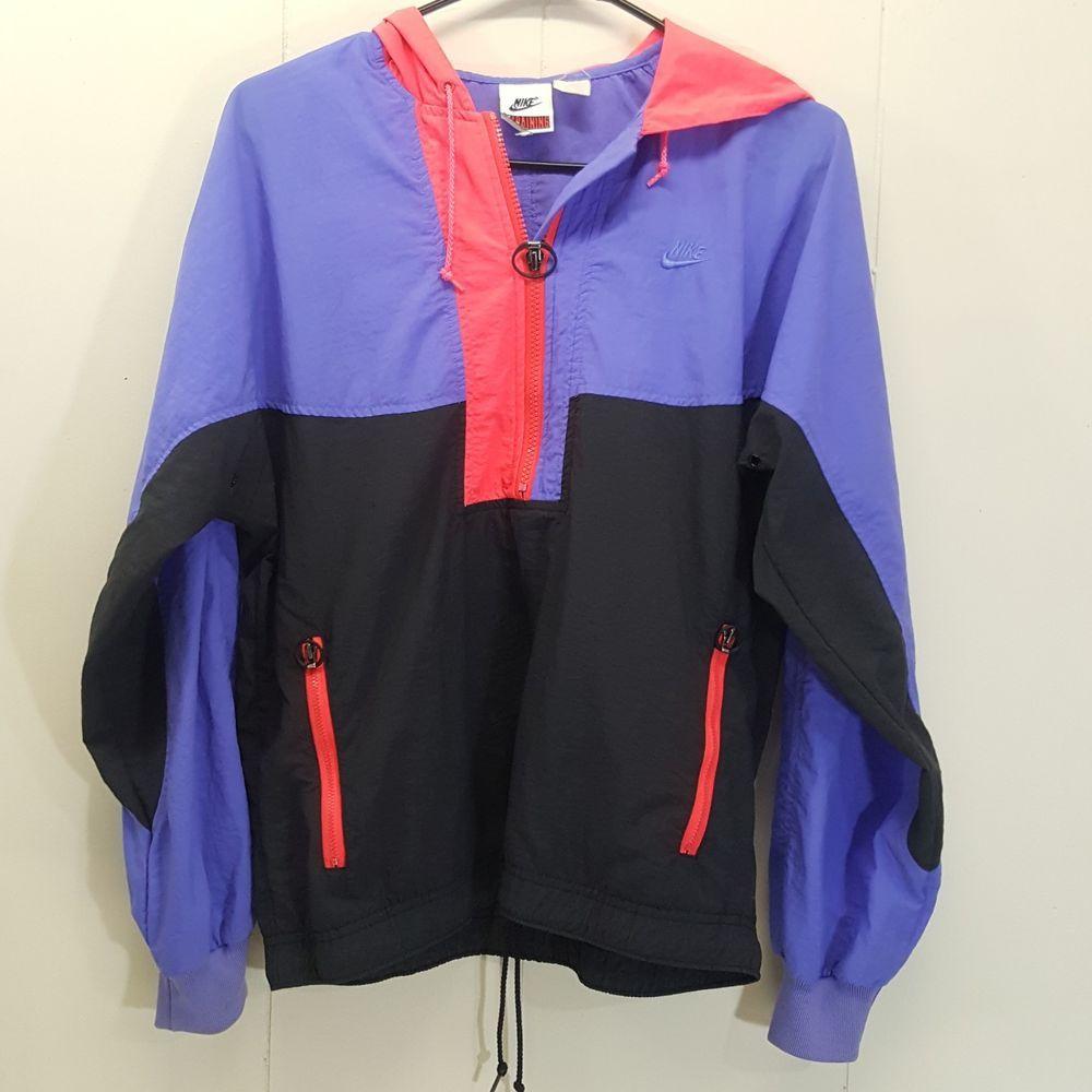 Nike SMALL Pullover Track Jacket Rain Purple Pink Black Colorblock Vintage   Nike  TrackJacket  Outdoor aa2cadab8