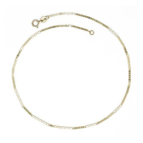 chain watches inch cut curata product diamond white cable ankle gold bracelet for anklet jewelry women