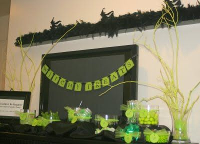 Lime Green Candy Buffet For A Wicked Themed Birthday Party