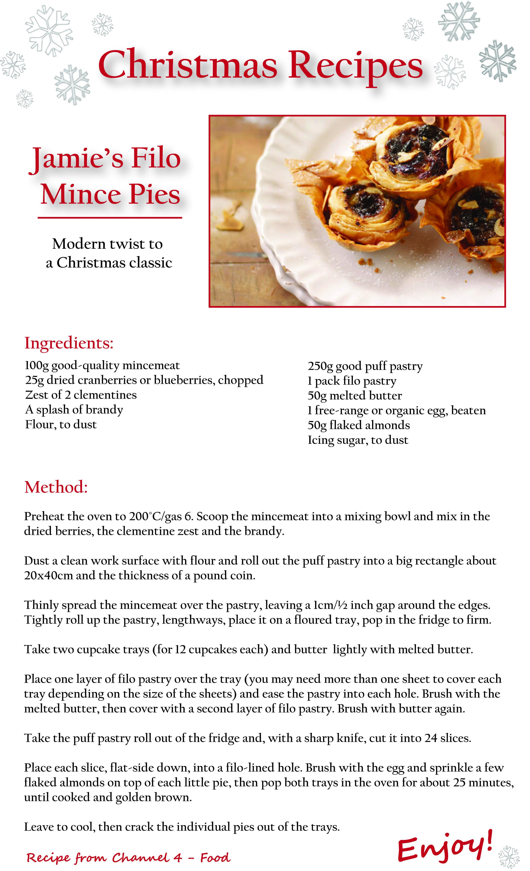 Jamie S Filo Mince Pie Recipe Mince Pies Christmas