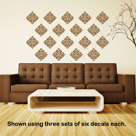 Genial Wallpaper Decal   Shabby Chic Damask Vinyl Wall Decal For Kitchen Backsplash  Living Room Or Bathroom