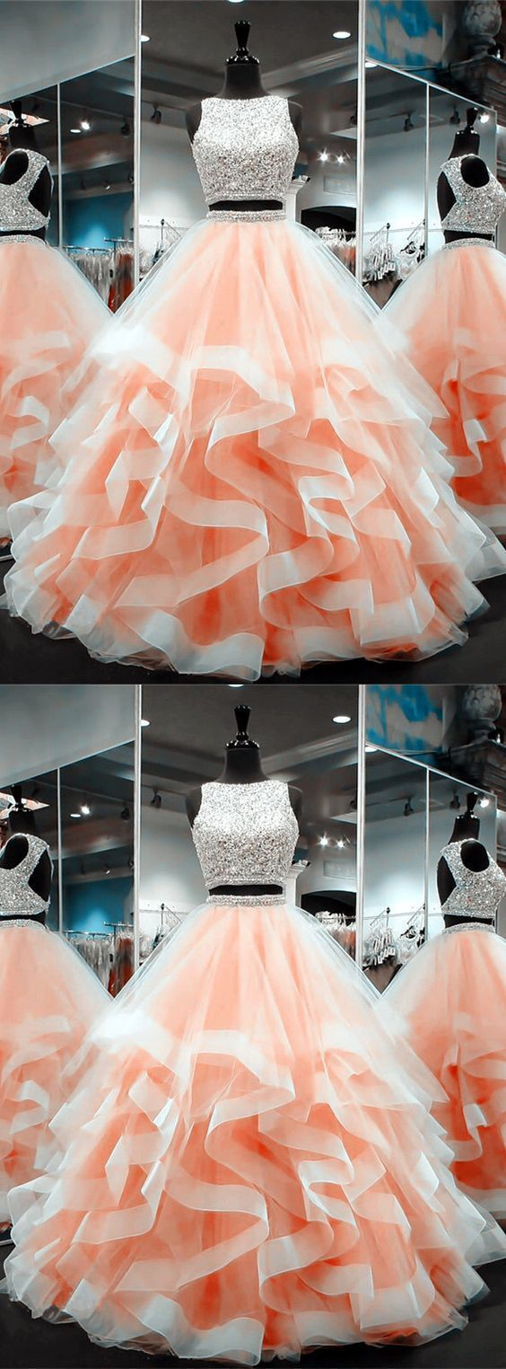coral prom dresses,ball gowns prom dress,two piece prom dress,2 piece prom dress