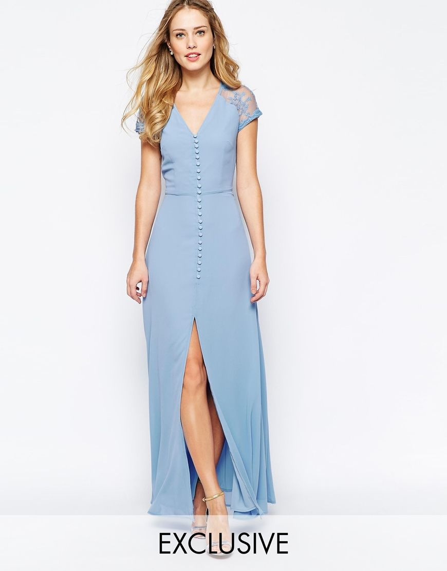 Image 1 of Jarlo Lucia Button Through Maxi Dress With Lace Shoulders