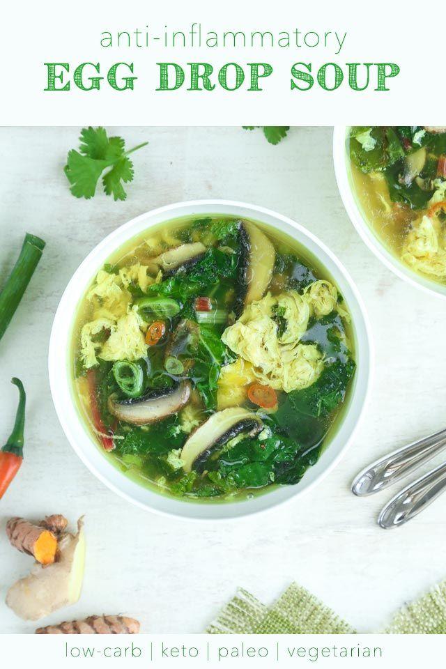 Anti-Inflammatory Egg Drop Soup (low-carb, keto, paleo, vegetarian)
