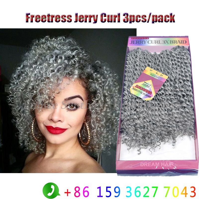 Find more bulk hair information about ombre gray braiding hair find more bulk hair information about ombre gray braiding hair 10inch freetress water wave deep hair freetress jerry curl synthetic hair extension kinky pmusecretfo Images