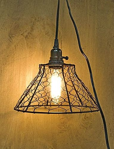 New Country Farmhouse Chic RUSTY CHICKEN WIRE BASKET PENDANT LIGHT Ceiling Lamp