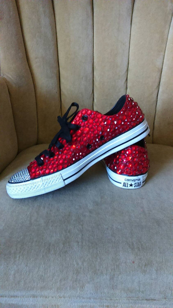 df04f1945db62f Red and clear Crystal rhinestone converse. by GlamAndGloryLab ...