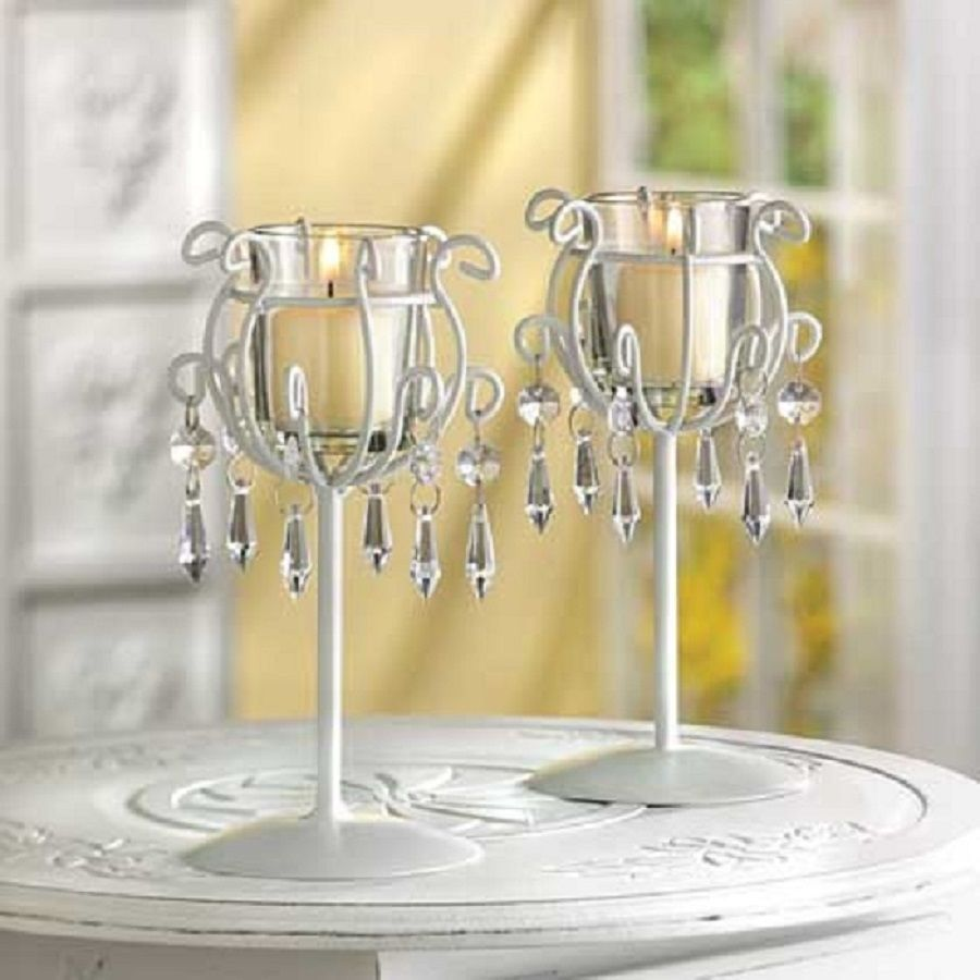 crystal drop votive candle holder stands wedding table