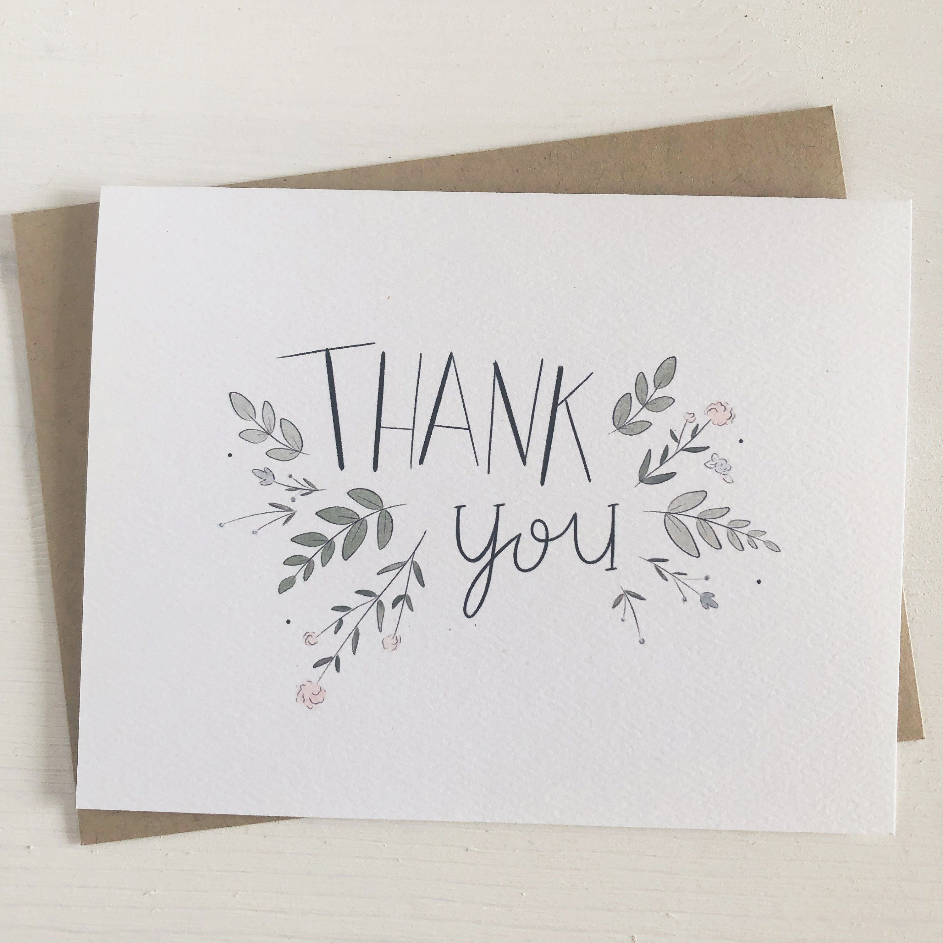 Floral Design Folded Card Thank You Cards 5.5 x 4 Envelopes Included