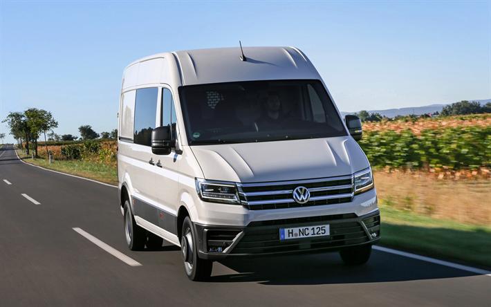 Lataa kuva Volkswagen Crafter, 2017, 4k, van, minibussi, uusi valkoinen Crafter, Saksan autoja, rahdin kuljetus, Volkswagen