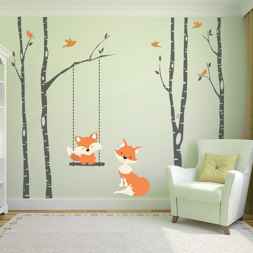 Baby Fox Orange 4 Birch Trees Wall Decal Forest Woodland