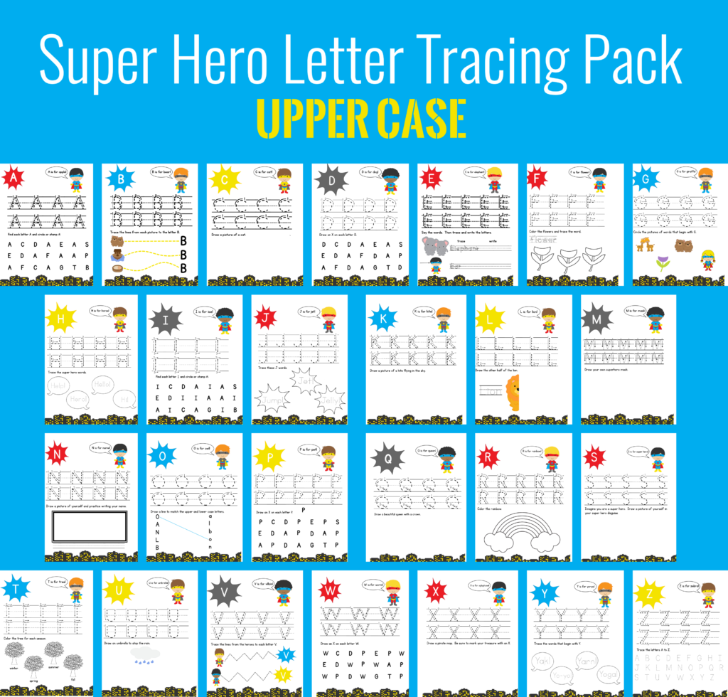 Free Printable Super Hero Letter Tracing Pack For