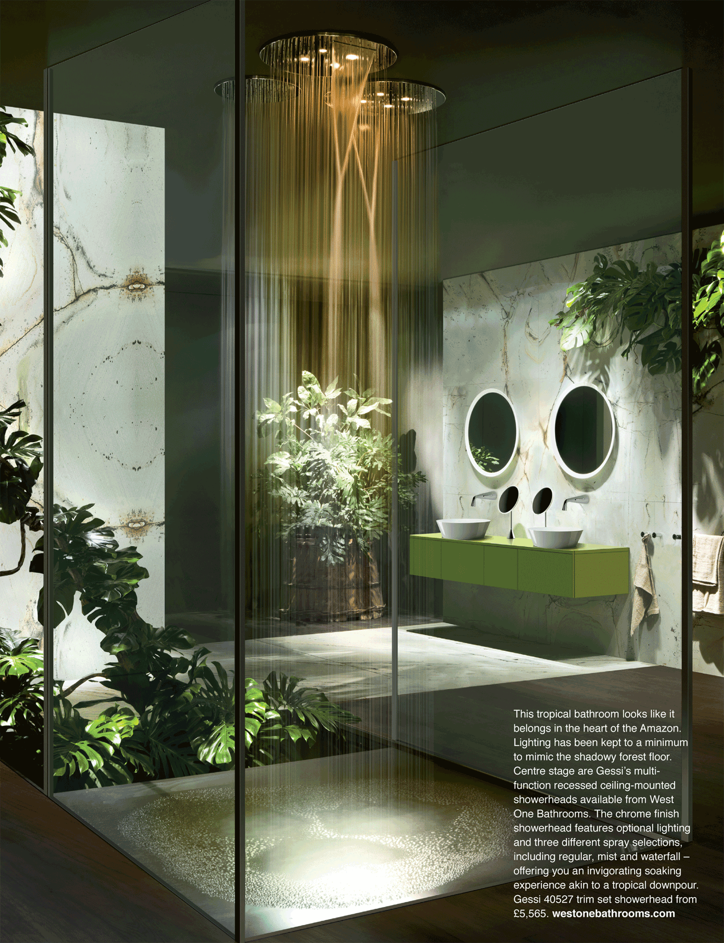 The Tropical Bathroom Looks Like It Belongs In The Heart Of The