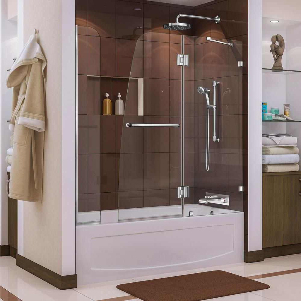 Dreamline Aqua Lux 56 To 60 In X 58 In Frameless Hinged Tub Door