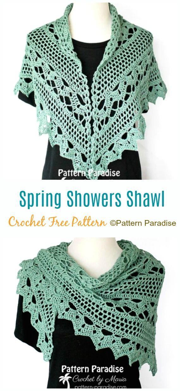 Spring Showers Shawl Crochet Free Pattern - Women Lace Shawl