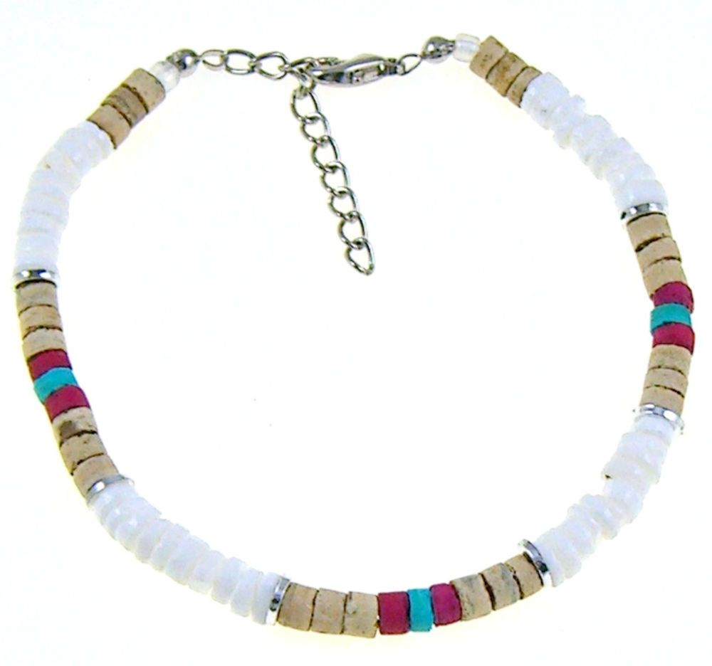 BOHO Hippie Surfer SUP Girls 9 5 in  Puka Shell Anklets