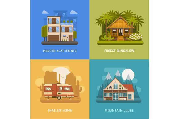 Bungalow, Cottage, Trailer and House by krugli on @creativemarket