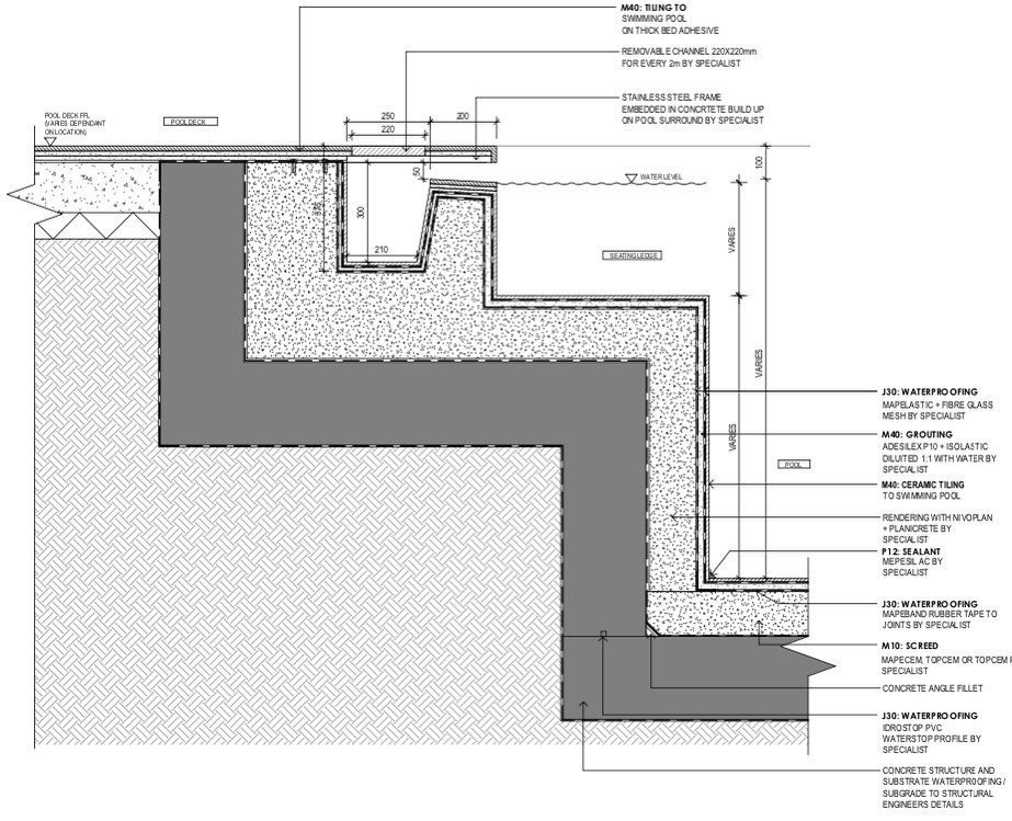 D A R Technical Swimming Pool Bench Detail Architecture Architect Design Alvindrafting Technicaldrawing