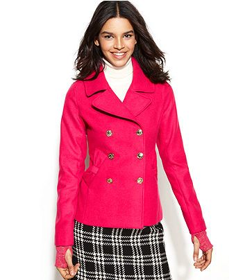 Tommy Girl Coat, Double-Breasted Bow Pea Coat - Juniors Coats ...