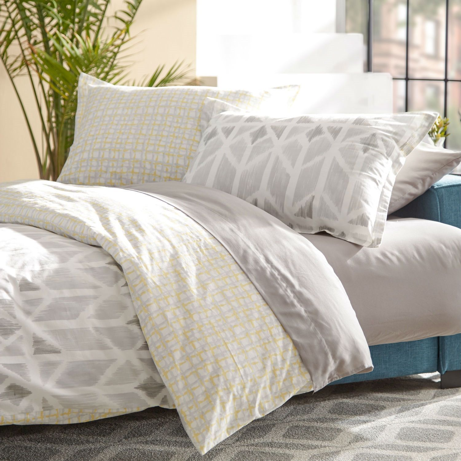 Twin size cotton comforter set in yellow light grey white check