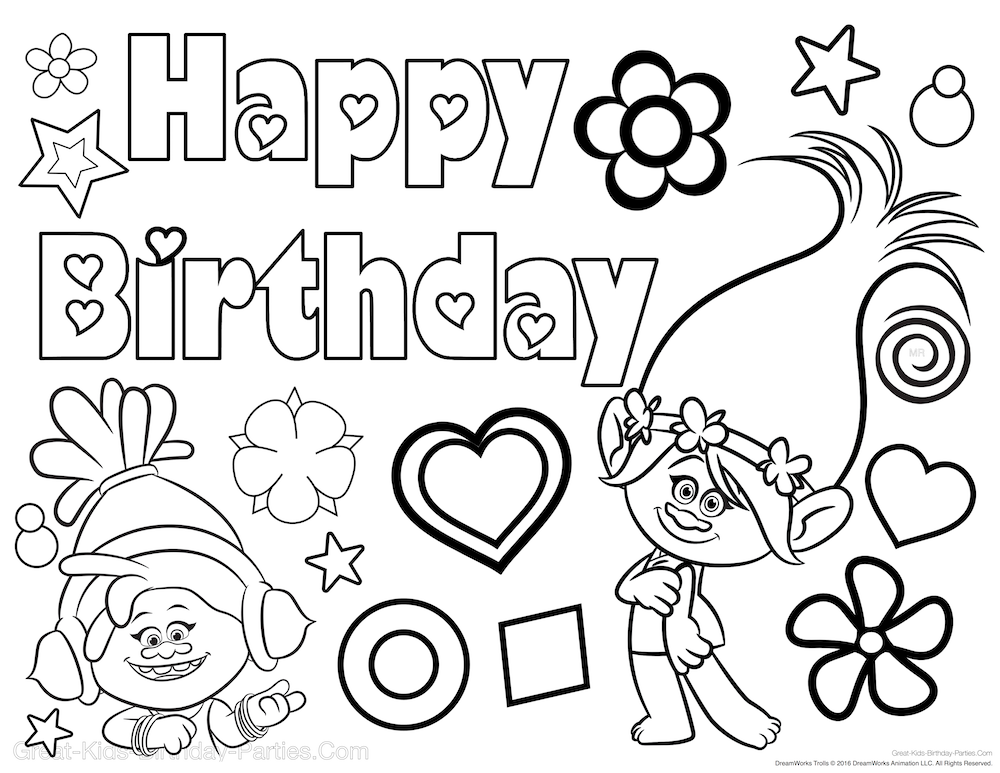 Free Trolls Birthday Coloring Page