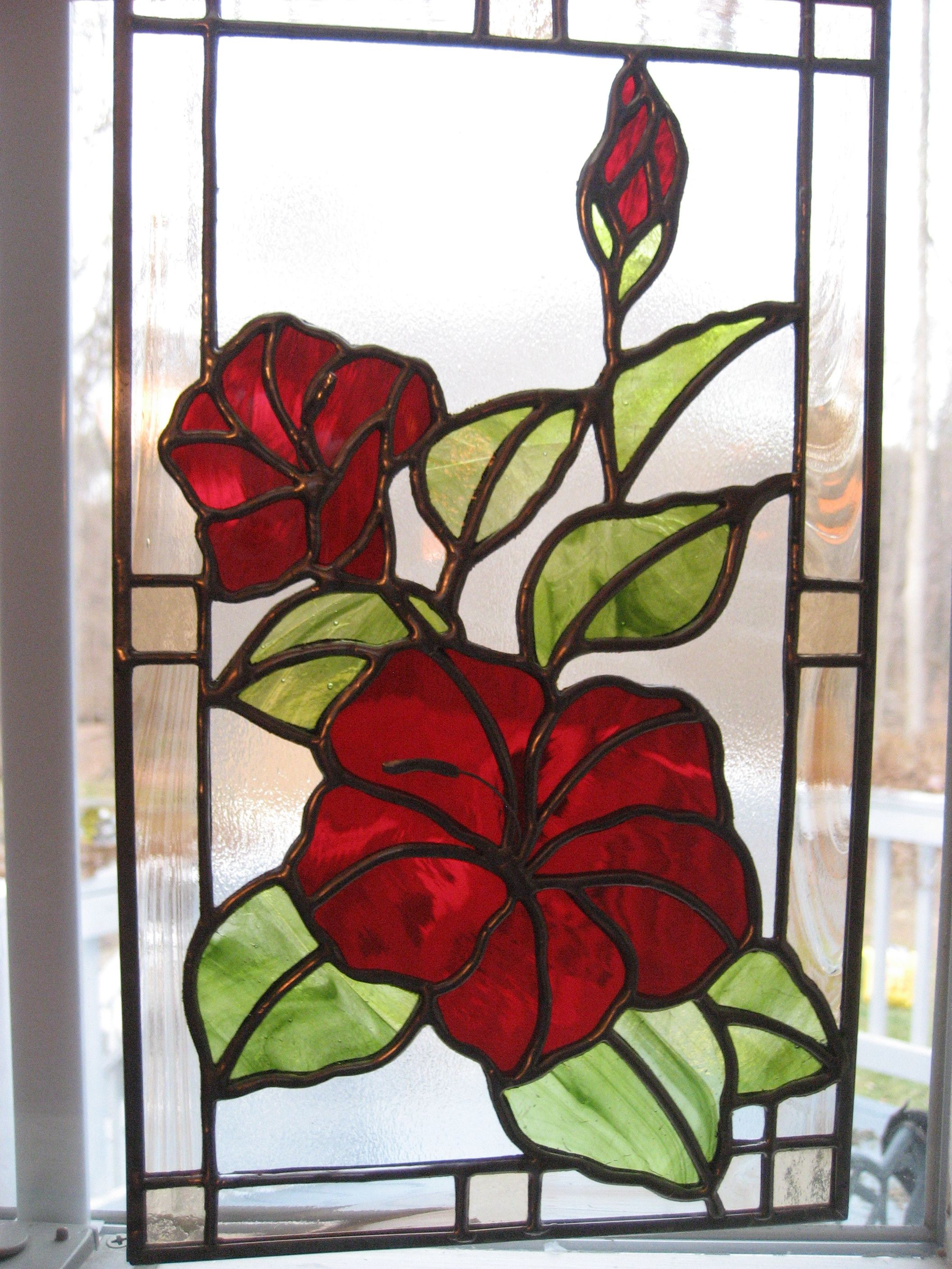 Stained Glass Hibiscus Panel My Luv 4 Glass Stained Glass Panels