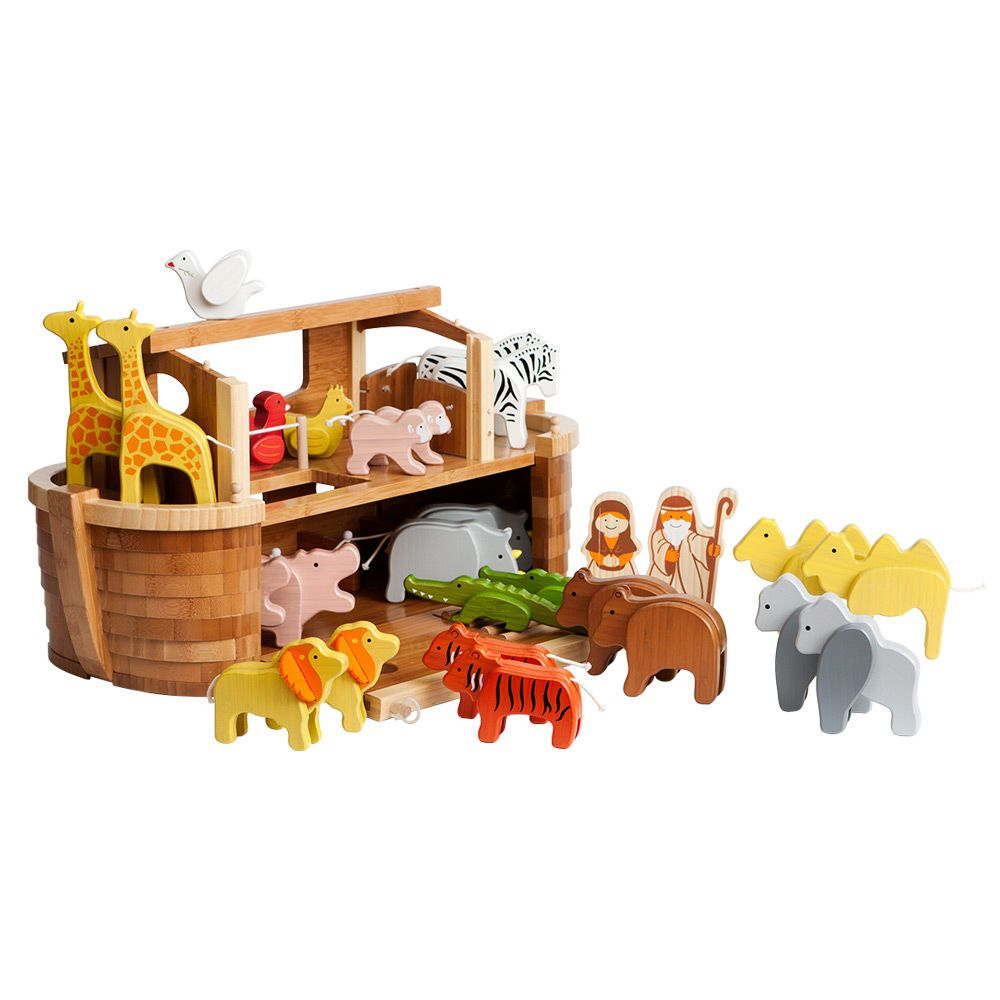 This Adorable And Eco Friendly Noah S Ark Set Is Made Entirely Out Of Bamboo And Comes Complete With 11 Pairs Of Animals And 2 Figur Wooden Toys Toys Noahs Ark