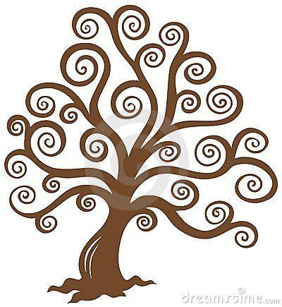 Disegno Stencil Albero Della Vita.Siluetta Marrone Stilizzata Dell Albero Drawing Coloring