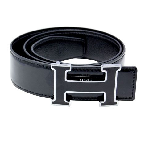 80b042ea4e6 ↔↖↔↗ Hermes H Letter Black Buckle Men S Belt HB4224-383 ...
