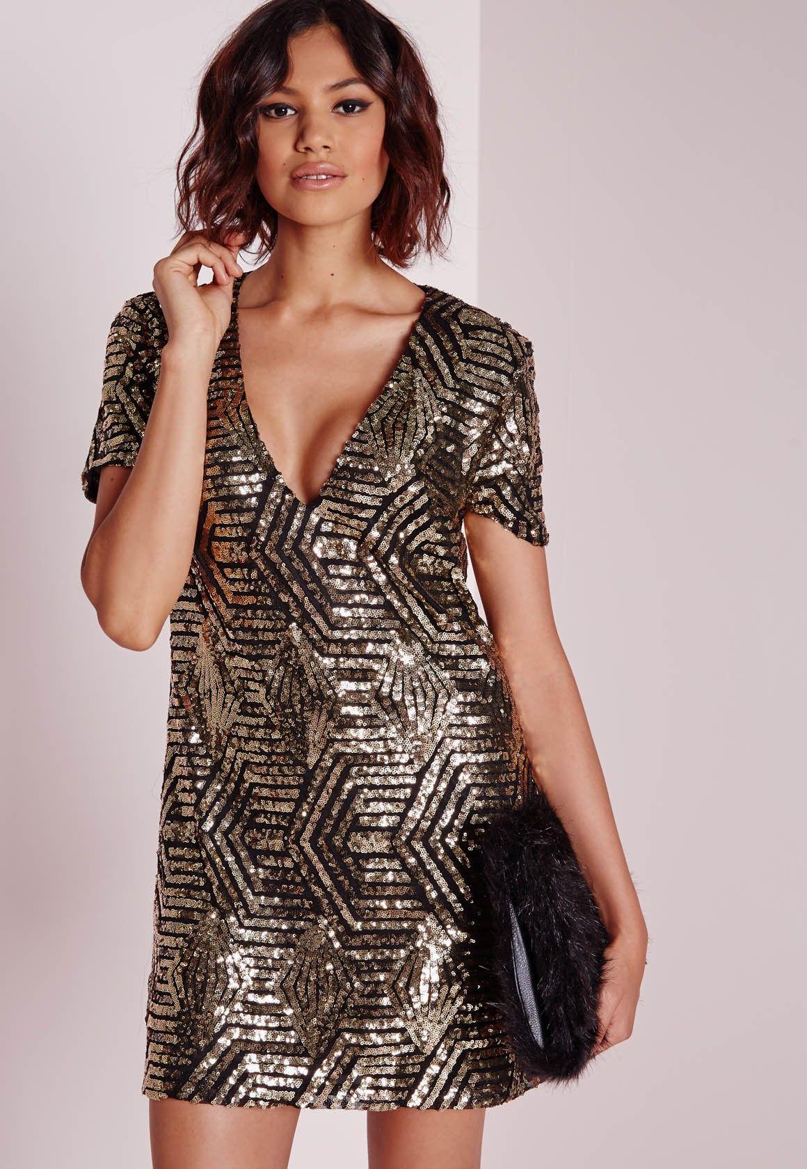 Sequin shift dress goldblack new yearus eve attire pinterest