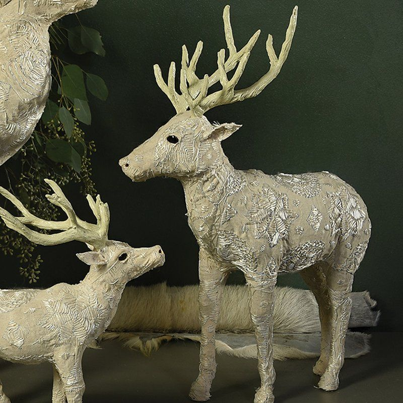 Avyanna Stag Standing Decorative Pillows Stag Christmas Stairs