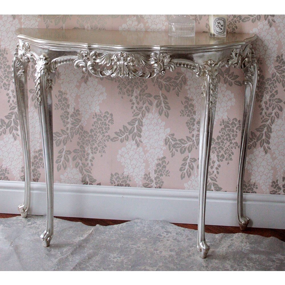 Sylvia silver console table kathouse flip pinterest silver sylvia silver console table geotapseo Image collections