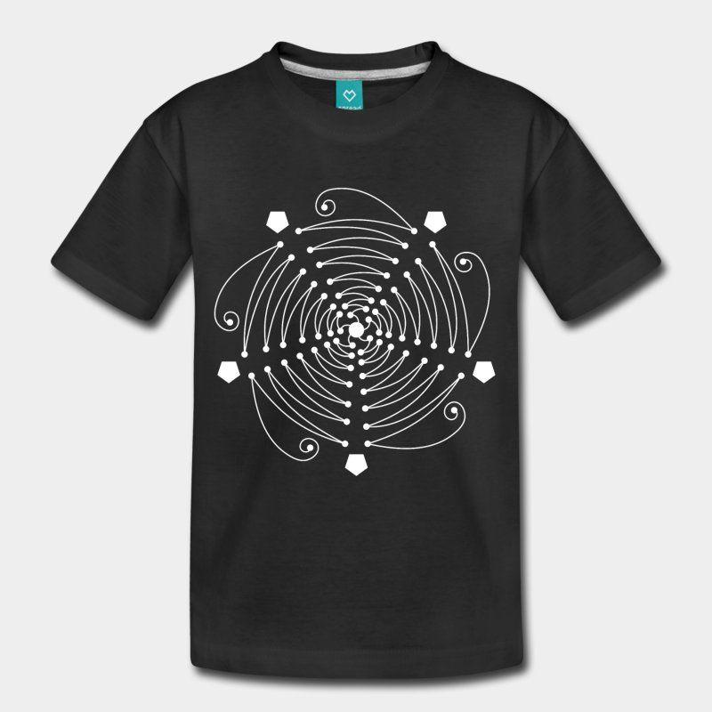 Un dessin de mandala à la ligne pure, basé sur le nombre cinq, le pentagone et la proportion dorée. Blanc. #tshirt imprimés personnalisables #LesYeuxFertiles